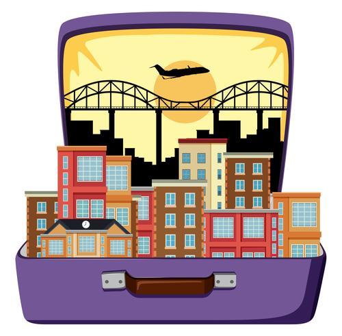 Städtische Stadt im Koffer