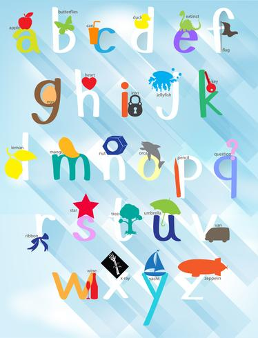 Design di poster per alfabeti inglesi