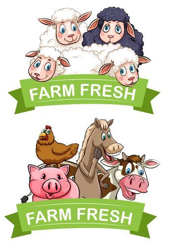 Design dell'etichetta con animali da fattoria