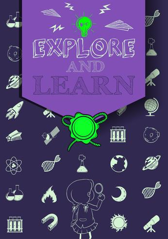 Onderwijsaffiche met symbolen en tekst