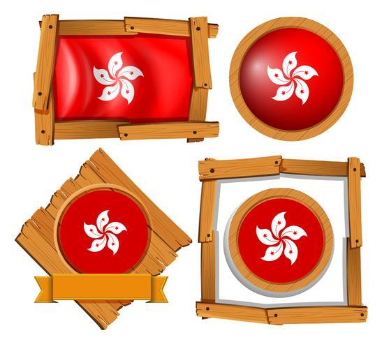 Bandiera di Hong Kong su telai tondi e quadrati