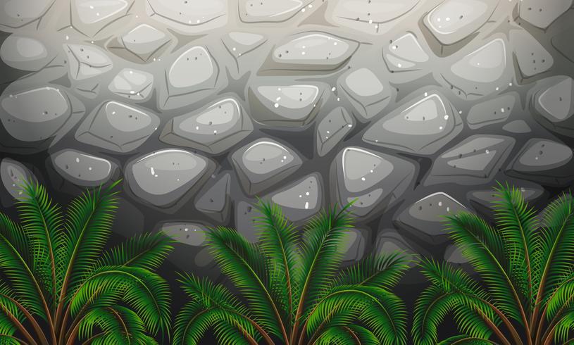 Un muro de piedra con plantas.