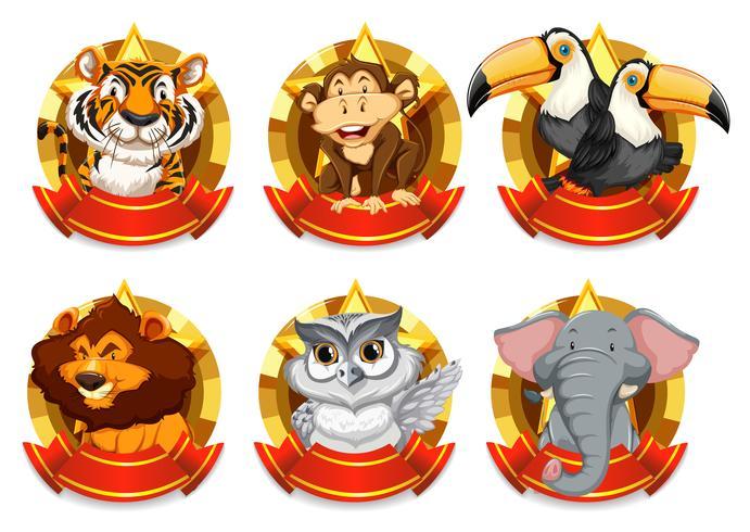 Banner Vorlage mit wilden Tieren