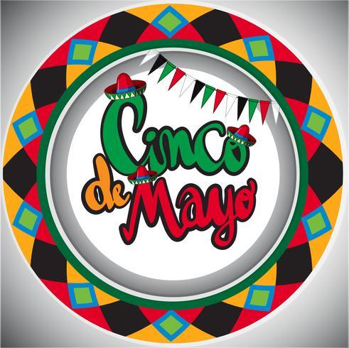 Modello di carta Cinco de Mayo con design rotondo