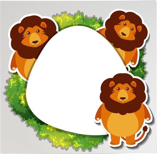 Trois lions autour de la frontière