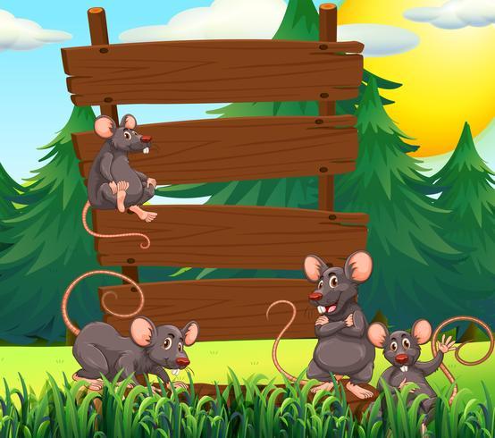 Ratten und Holzschilder im Garten vektor