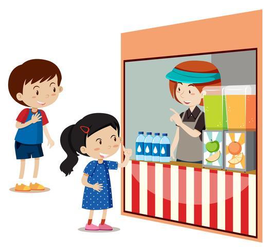 Enfants achetant des boissons au magasin