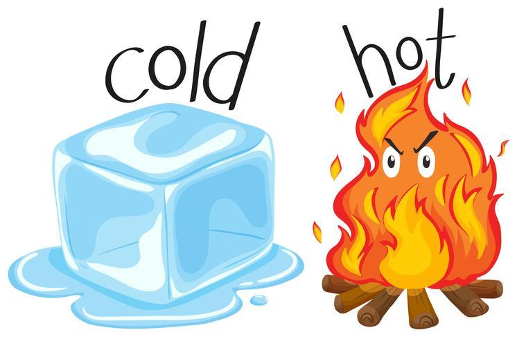Koude icecube en heet vuur