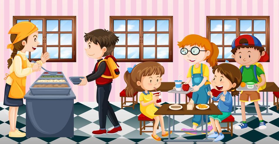 Crianças, comendo lunch, em, a, cantina