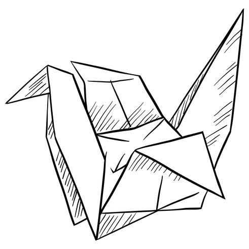 Pájaro de papel sobre fondo blanco