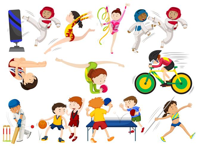 People do different types of sports vector