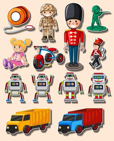 Aufkleberdesign mit verschiedenen Spielzeugen und LKWs
