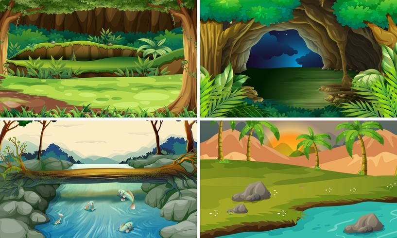 Four forest scenes with trees and rivers