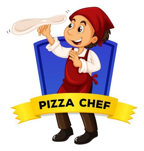 Diseño de etiquetas con chef de pizza.