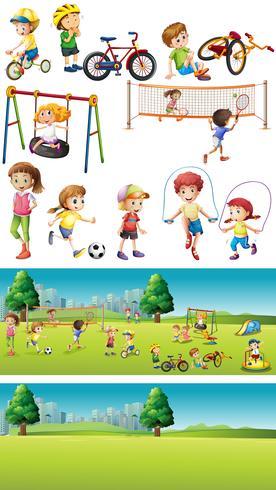 Park scene con bambini che praticano sport