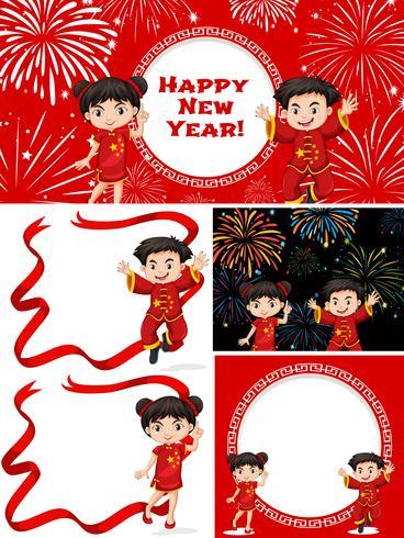 Lyckliga barn och kinesiskt nyår