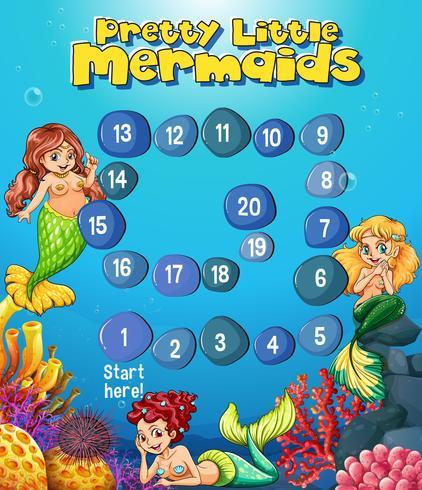 Bordspel sjabloon met zeemeerminnen onder de zee