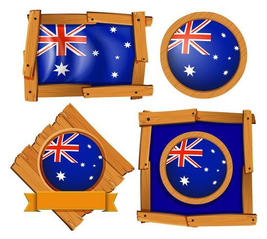 Drapeau australien sur différents modèles de cadre