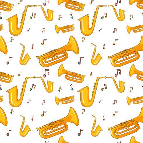 Seamless background with saxophone vector