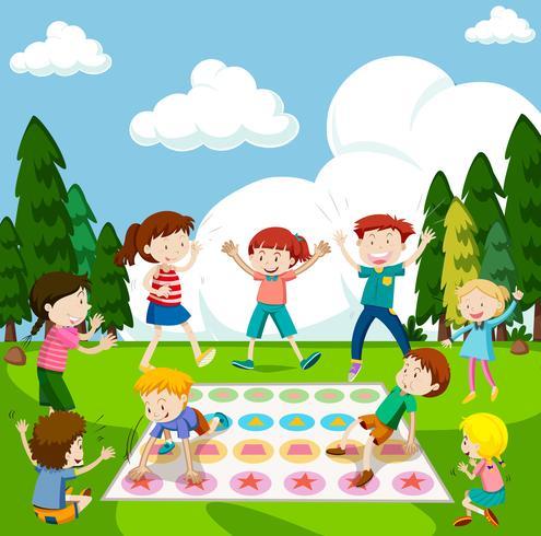 Crianças, jogo jogando, parque