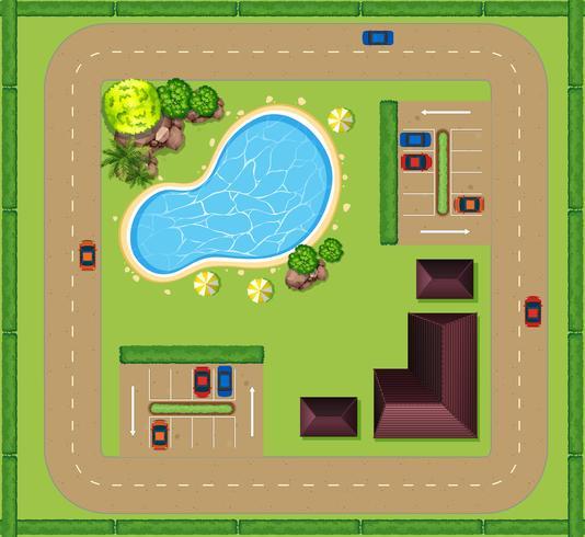 Flygfoto över lyxigt hus