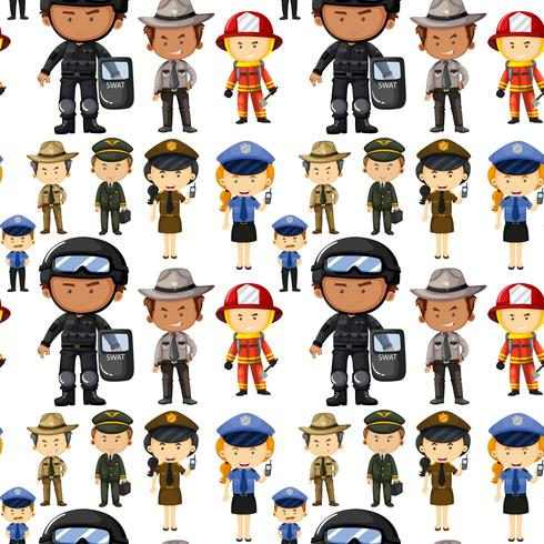 Seamless background with different kinds of jobs