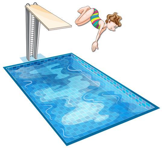 Flicka som dyker ner i poolen