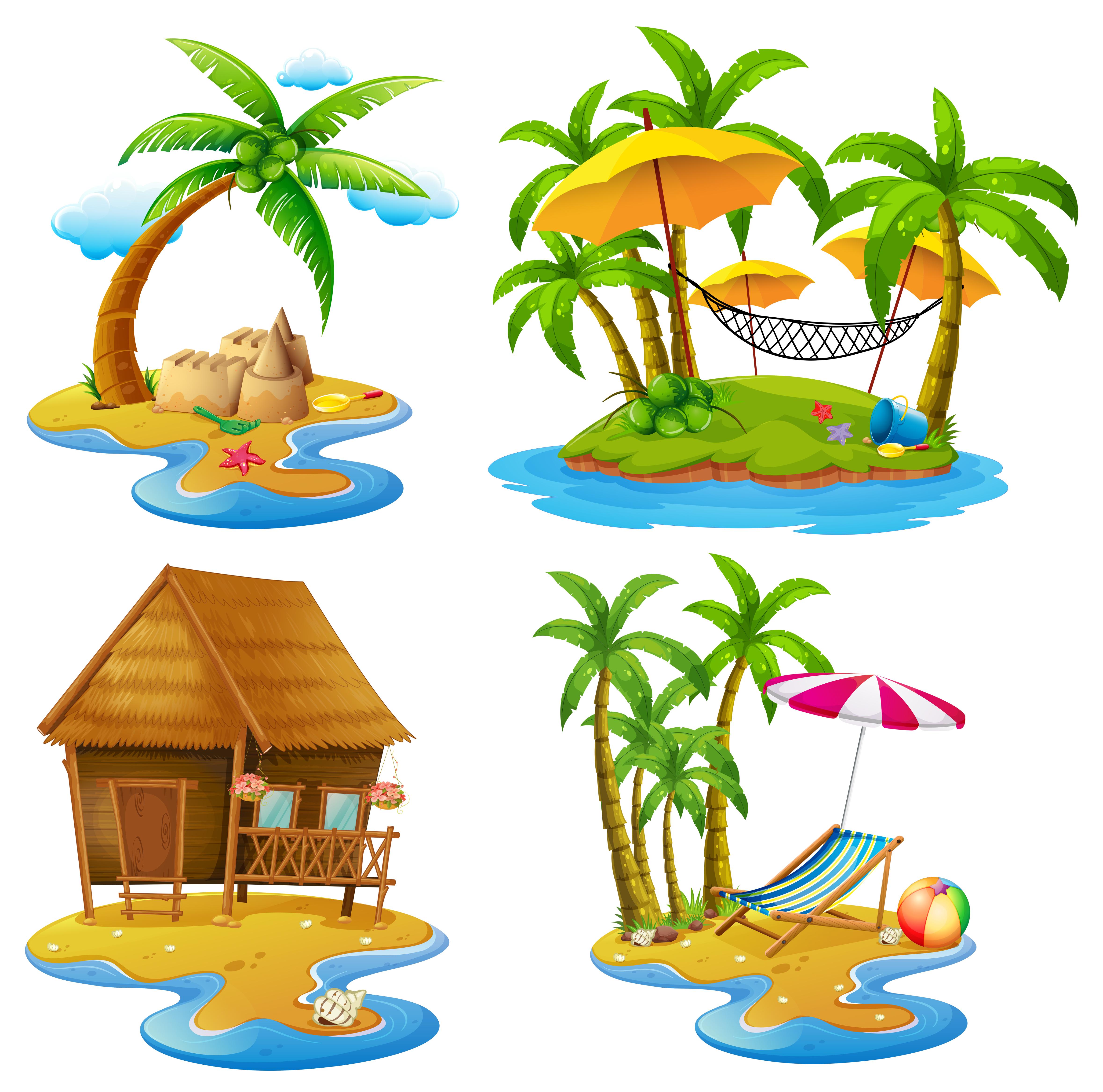 Island Beach Scenes: Four Scenes Of Islands And Sea