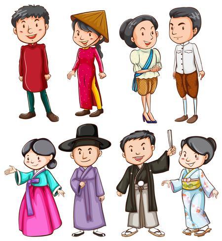 Pessoas mostrando a cultura asiática