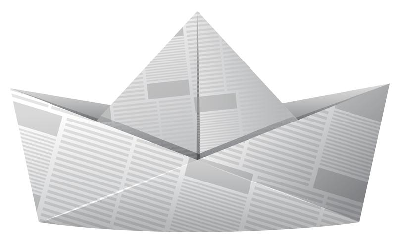 Paper boat made of newspaper vector