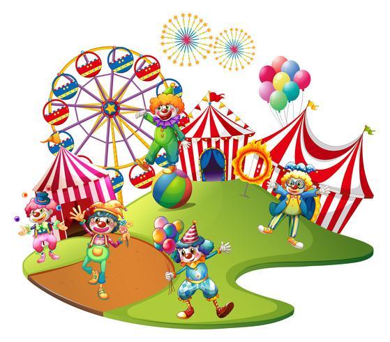 Clowner som utför i cirkusen