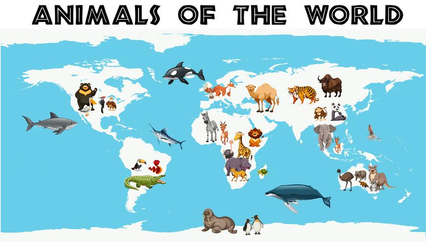 Different types of animals around the world on the map vector
