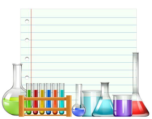 Design de papel com copos e testtubes
