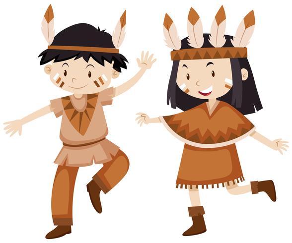 Duas crianças vestidas como índios