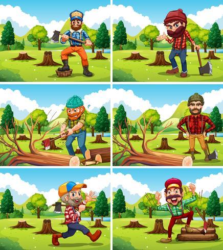 Olika avskogningsscener med timmerjackor