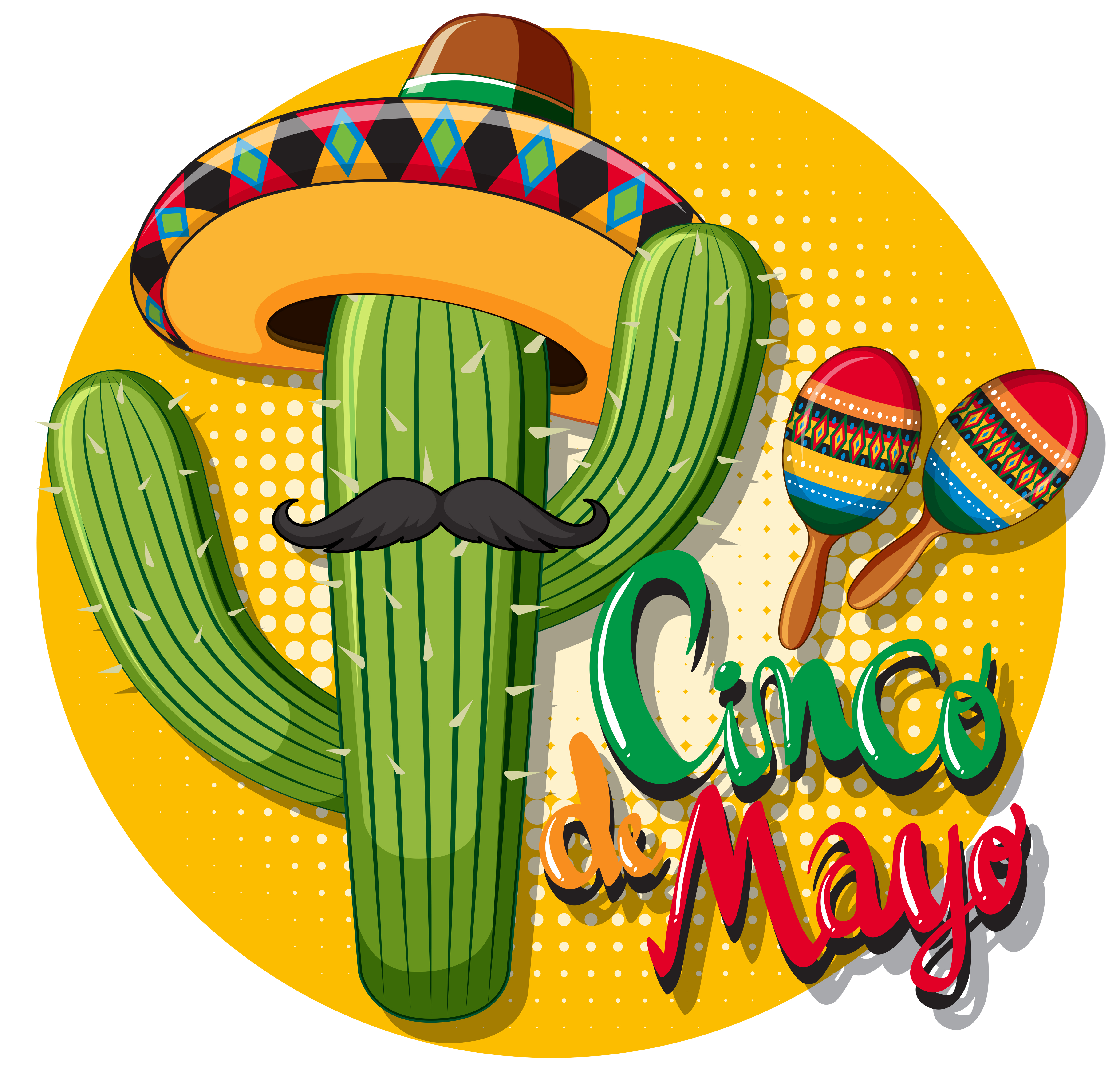 Cinco de mayo card template with cactus wearing hat 447422 ...