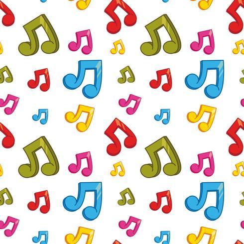 Nahtloses Hintergrunddesign mit bunten Musikanmerkungen