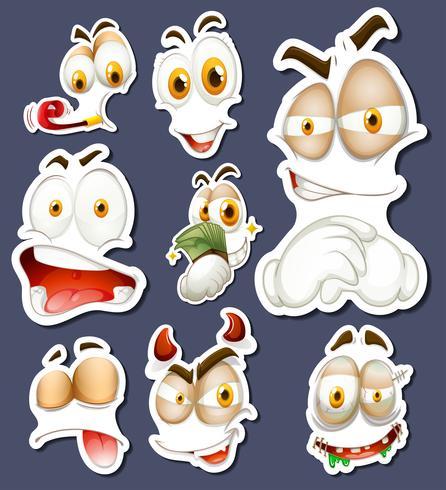 Adesivo definido com diferentes expressões faciais