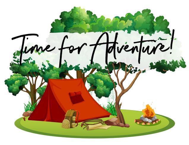 Camping site com tempo de frase para a aventura