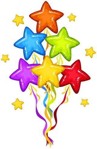 Balões de forma de estrela em muitas cores