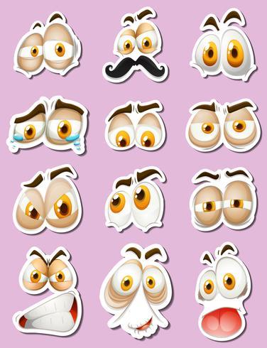 Klistermärke design med ansiktsuttryck