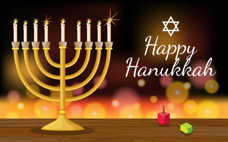 Happy Hanukkah card template with symbols and lights