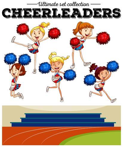 Cheerleaders torcendo no campo