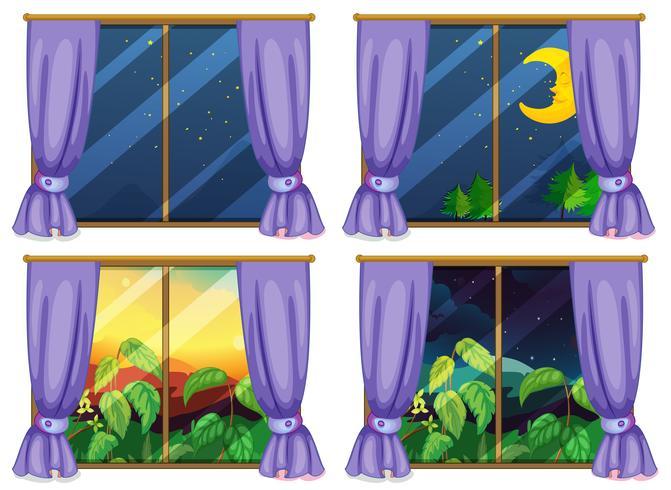 Vier Fensterszenen Tag und Nacht