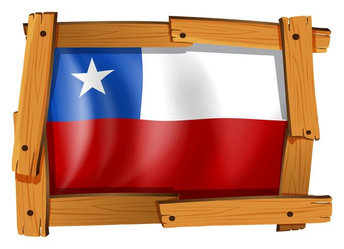 Flag of Chile in wooden frame