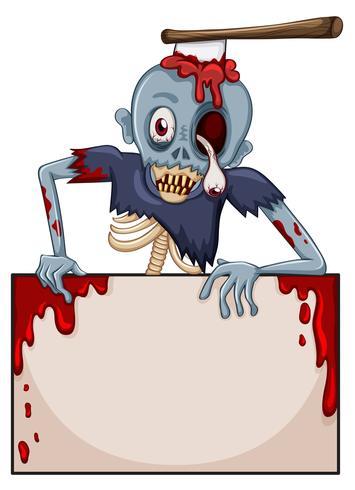Un zombie con un letrero vacío.