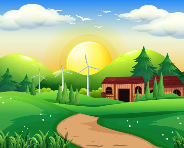 Escena con casa y molinos de viento.