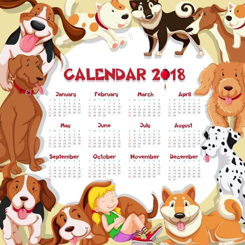 Modèle de calendrier pour 2018 avec de nombreux chiens mignons