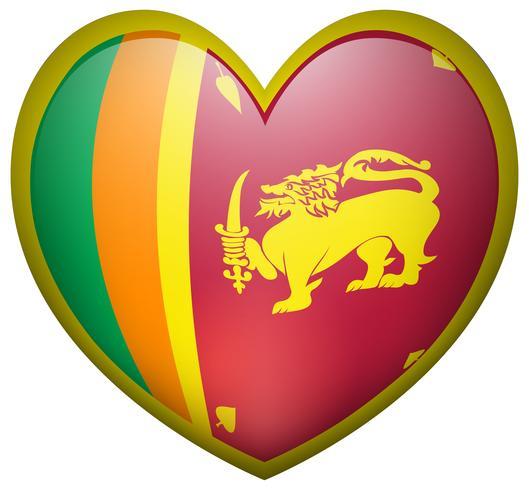 Drapeau du Sri Lanka sur l'insigne du coeur