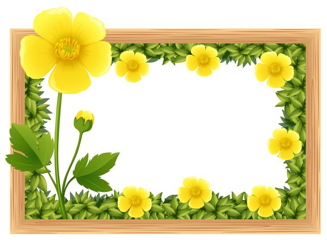 Flores de florzinha amarela como design de moldura
